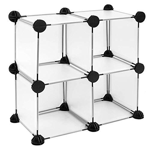 PrimeMatik - Armario Organizador Modular Estanterías de 4 Cubos de 17x17cm plástico Blanco