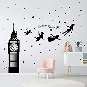 decalmile Peter Pan Characters Wall Decals Big Ben Clock Never Grow Up Quotes Stars Wall Stickers Baby Nursery Room Kids Bedroom Wall Decor