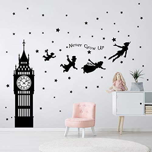 decalmile Adesivi Murali Peter Pan Big Ben Stelle Adesivi da Parete Bambini Frase Decorazione Murale Cameretta Bambini Asilo Nido