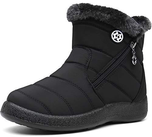 Damen Winterstiefel Wasserdicht Warm gefütterte Schneestiefel Winterschuhe Winter Kurzschaft Stiefel Boots Schuhe Schwarz 42
