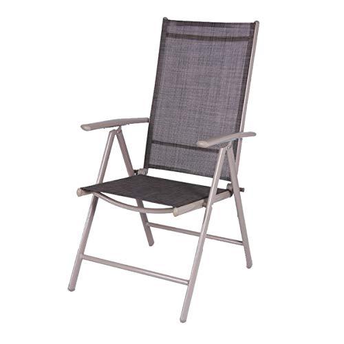 Klappsessel 7 Positionen mit Aluminiumrahmen und Textilenbezug 54x64x106cm - Schwarz