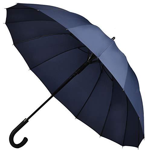 Muslish 傘 メンズ 16本骨 紳士傘 ジャンプ傘 大きい ワンタッチ 丈夫 テフロン加工 超撥水 梅雨対策 収納ポーチ付き1年保(ブルー)