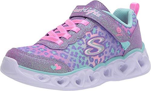 Skechers Kids Girls' Heart Lights Sneaker, Lavendar/Aqua, 12 Medium US Little Kid
