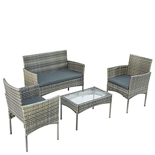Muebles de Jardín Conjunto de jardín Grupo De Asientos De Ratán De Poly para 4 Personas Sillón De Sofá con Cojines De Asiento para Jardín Balcón Y Terraza (Gris + Ratán)