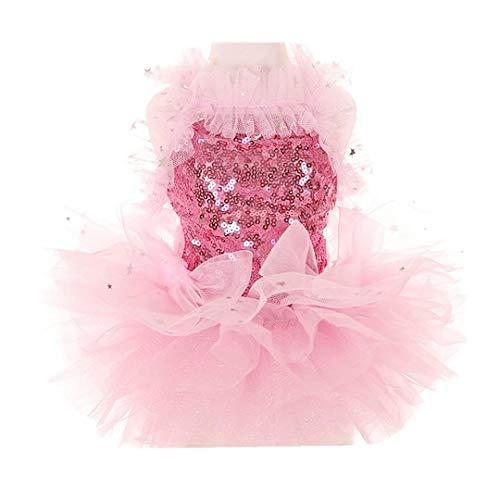 Coversolat Hundekleider Kleine Hunde Prinzessin Kleid Paillettenkleid Schulterfreies Kleider Tutu Rock Hundekleid Hundekleidung Sommer