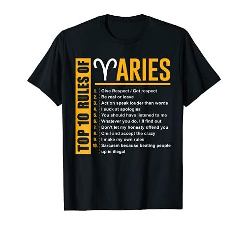 Regalos de cumpleaños - Top 10 Rules Of Aries Zodiac Camiseta Camiseta