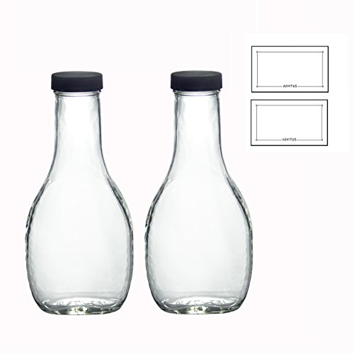8 oz Clear Glass Thick Wall Salad Dressing Bottle (2 Pack) + Labels for dressings, sauces, and marinaras