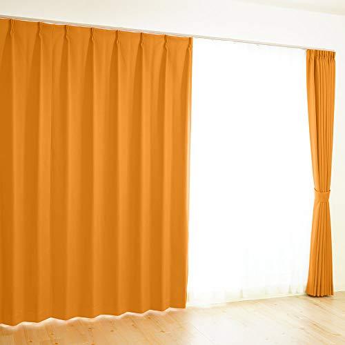 【全41色×220サイズ】 オーダーカーテン 1級遮光 防炎 均一価格 ポイフル オレンジ 幅100×丈73cm 1枚