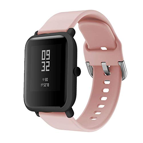 Correas de Reloj de Repuesto de Silicona para Xiaomi Huami Amazfit Bip Youth Watch (20mm, Rosado)