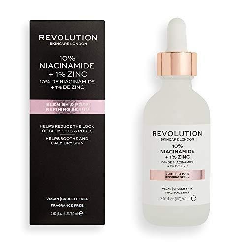 Revolution Skincare 10 % Niacinamid, 1 % Zink, Hautunreinheiten und Poren, verfeinerndes Serum, 60 ml