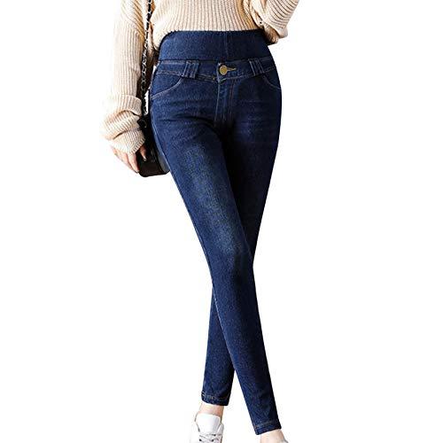 jieyun Jeggings en jean polaire pour femme avec contrôle du ventre, taille haute, tissu extensible JUPCs avec poches, pantalon thermique noir/bleu