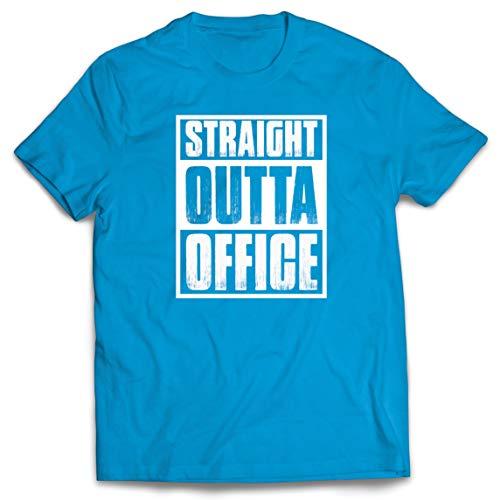 lepni.me Männer T-Shirt Geradewegs aus dem Büro Motivation zur Rückkehr an den Arbeitsplatz 2020 (X-Large Blau Mehrfarben)