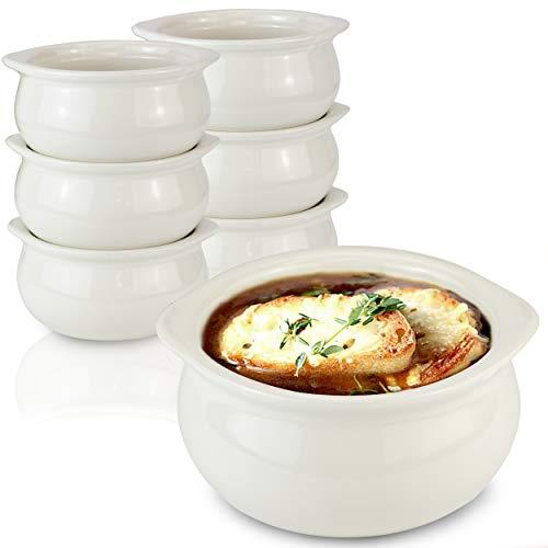 [6 Pack] 10 Oz French Onion Soup Crock - Ivory Premium Ceramic Porcelain Bowls