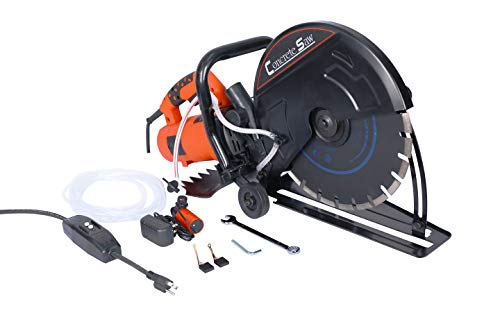Electric 14' Cut Off Saw Wet/Dry Concrete Saw Cutter Guide Roller with Water Line Attachment