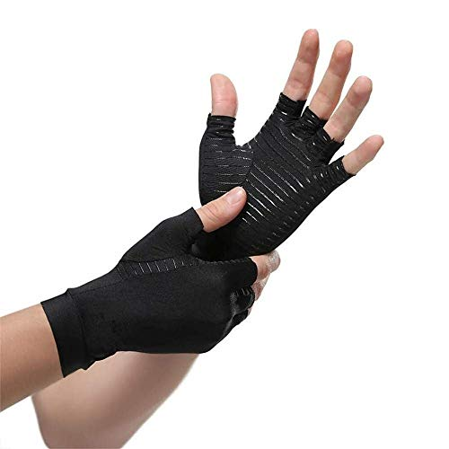 David Copper Compression Arthritis Gloves, BestCopper Infused Glove for Women and Men, Fingerless Compression Gloves, Pain Relief and Healing for Arthritis, Carpal Tunnel, 1 Pair, Black (Large)
