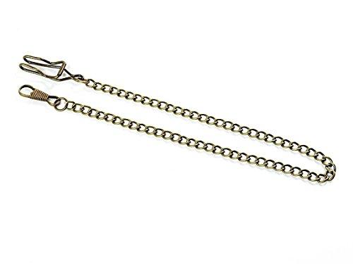 DIY Uhrenkette mit Karabiner und Hakenverschluss in antik bronzefarben 1 Stück von Vintageparts mit gedrehten Gliedern Gliederkette Kette für Taschenuhren