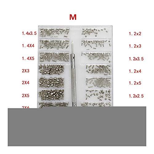 NOLOGO JNT 18 Tipos 500Pcs Mini Kit Tornillo DIY + 1,6 mm Destornillador for el Ordenador portátil de reparación Ensamble el Tornillo de fijación de Tornillos (Color : M)