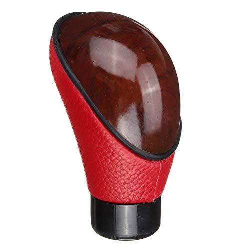 Pomo de palanca de cambios manual de piel sintética para coche, con adaptador universal de 8 mm, 10 mm, 11 mm, 12 mm, color rojo