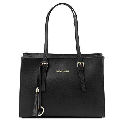Tuscany Leather TLBag Borsa a mano in pelle Saffiano Nero