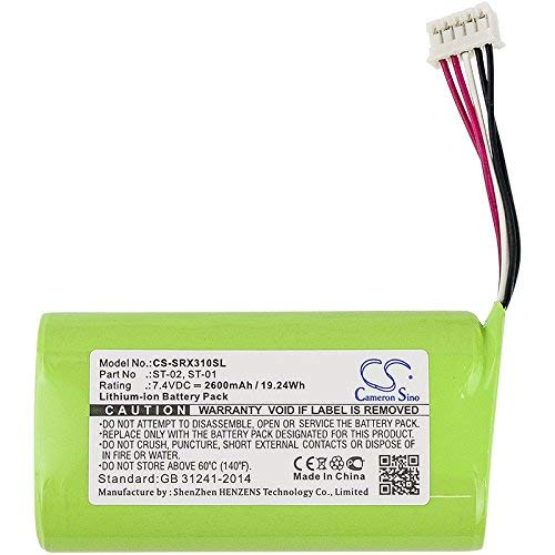 Replacement Battery for Sony Bluetooth Speaker SRS-X3 SRS-XB2 SRS-XB20,fits Part No ST-01,Li-ion 7.4V 2600mAh/19.24Wh