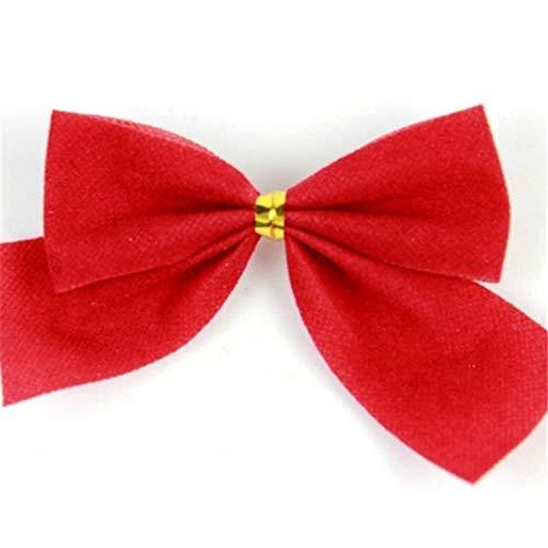 heDIANz 36pcs Guirlande De Sapin De Noël 6cm De Couleur Unie Bowknot Ornement De Fête Rouge 36pcs