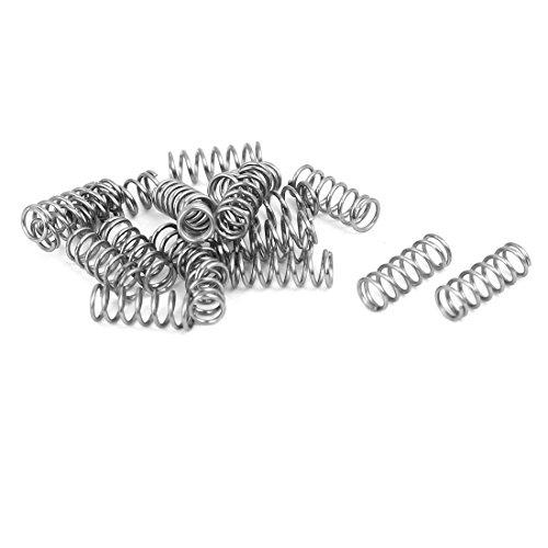 sourcingmap 20 Stück 0.5mmx4mmx10mm 304 Edelstahl Druckfedern Silber de