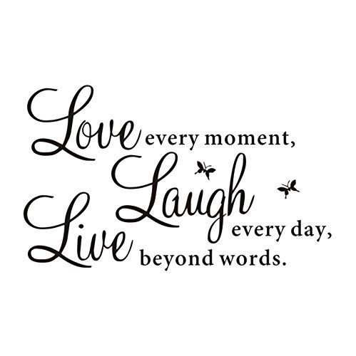Wallstickers Wall Sticker Love Every Moment Laugh Every Day Live Boyond Words Modern Decals for Home Decor Finished Size 28X20Cm