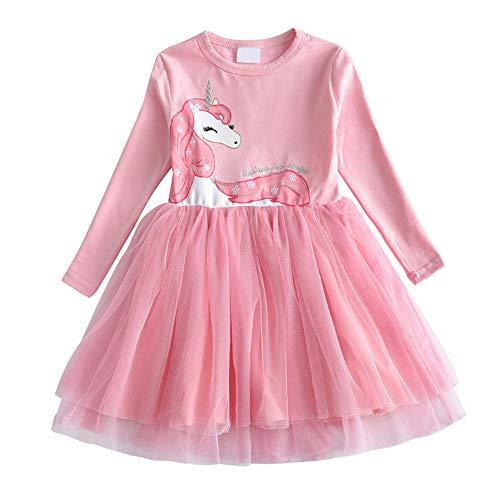 DXTON Kinder Mädchen Kleider Tüll Kleid Langarm Kleidung Frühling Herbst LH4570 , Rosa 4570, 4-5 Jahre