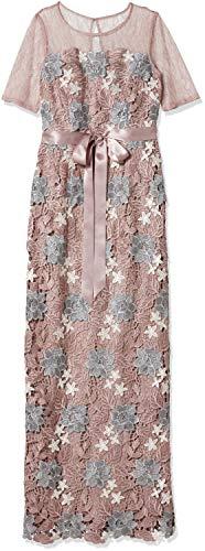 Adrianna Papell Women's short sleeve Tri Color Guipure Lace Column Gown, Quartz Multi, 10 (Apparel)
