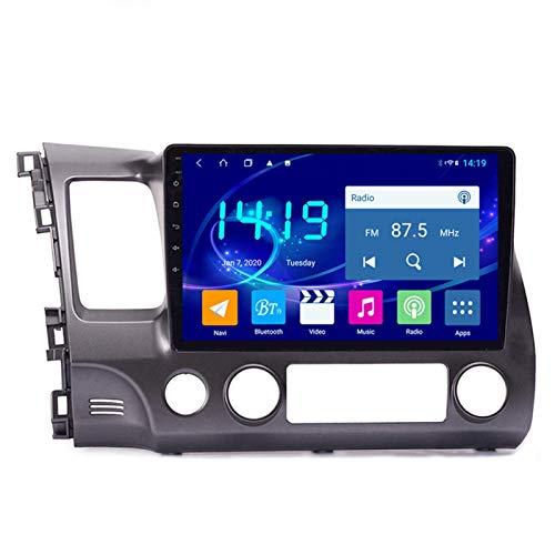 Android 9.1 Car Stereo Navigation Dispositivos para Honda Civic 2004-2011, pantalla táctil de 9 pulgadas reproductor multimedia de coche soporte Bluetooth USB espejo enlace volante control 4 GB+64 GB