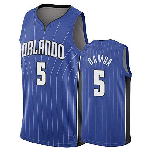 EARAID Versión fanática de los Hombres Magic 5# Bamba Basketball Jersey, Bordado Regular de Baloncesto Jersey, Orlando Mohamed Swingman Jersey Black-XL