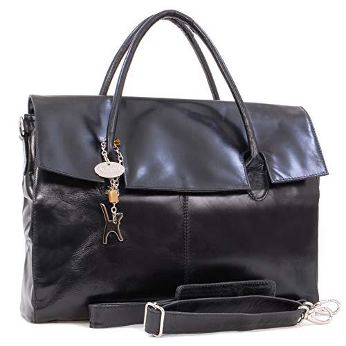 Catwalk Collection Handbags - Leder - Übergroße Laptoptasche Schultasche/Organizer/Arbeitstasche/Aktentasche für Damen - Laptop/iPad - Handtasche mit Schultergurt - HELENA - Schwarz