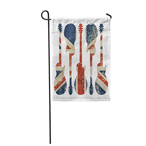 12,5 'x 18' Gartenflagge Fünf Gitarren geformt Old Vintage Dirty Faded Shabby Distressed Großbritannien Großbritannien Home Outdoor Decor Doppelseitige wasserdichte Yard Flags Banner für Party