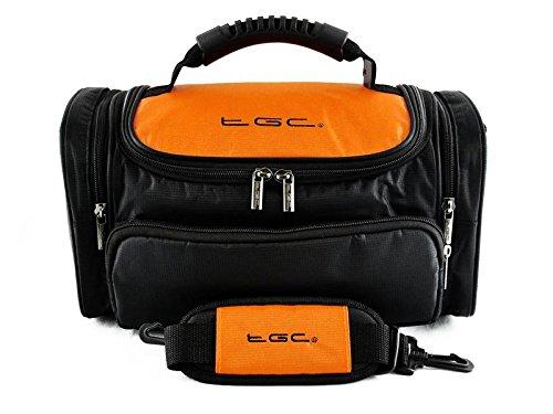 TGC ® Grote Camera Hoesje voor Fujifilm X-Pro1 met Korte Zoom Lens Plus Accessoires, Oranje & Zwart