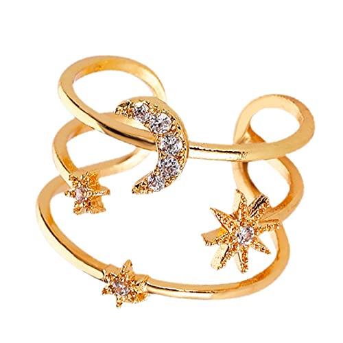 minjiSF Anillo abierto de diamantes para mujer, diseño de estrella y luna, ajustable, con cristales, no pierde color