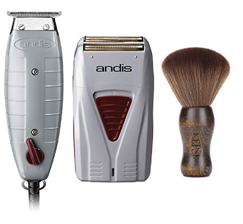Andis Professional Finishing Combo, T-Outliner Beard/Hair Trimmer with T-Blade, Gray, Model GTO - Cordless Mens Long Lasting Lithium Battery Titanium Foil Shaver (17195)-Bundled with KEPSE Neck Duster