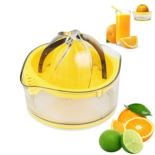 Lemon Juicer Hand press Orange Squeezer Citrus Manual Fruit Juicer Lime with Clear Graduated Container,Transparent Yellow