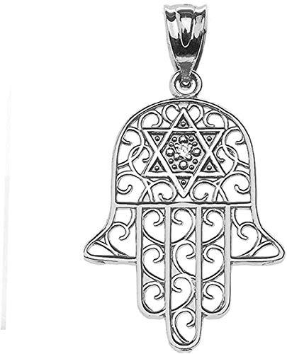 Joyería judía Mano de Hamsa de oro blanco de 14k con colgante de estrella de David centrado en diamantes