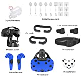 Skywin VR Essentials kit for HTC VIVE - VR Cable Management, Controller Headset and Tracker Skins, Display Stand and Organizer, Tracker Belt + Hand Straps, Replacement Face Foam, Disposable Face Cover