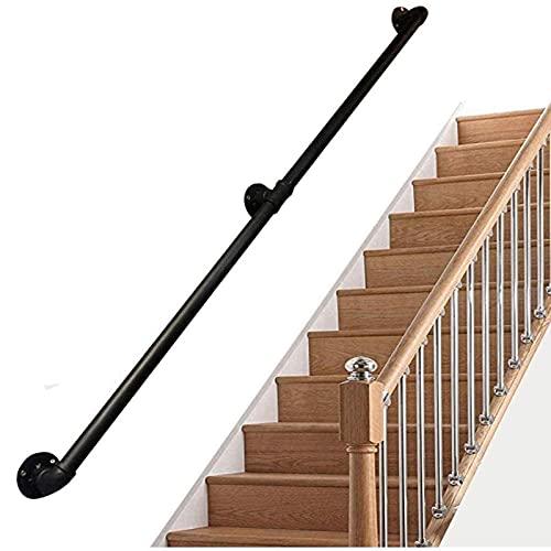Stair Beaming Industrial Forjado Hierro de hierro negro Stair Handrail, Hogar interior y al aire libre Antigua Escalera antideslizante Cerca de seguridad de la mano, 1.3 'Diámetro del tubo, admite 200