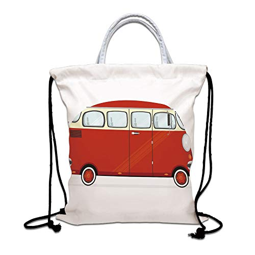 Vintage Drawstring Bag waterproof, Cartoon Style Red Minivan Classical Hipster Caravan Traveler Journey Decorative Lightweight Gym Sackpack for Hiking Yoga Gym Swimming Travel Beach,Red Light Yellow W