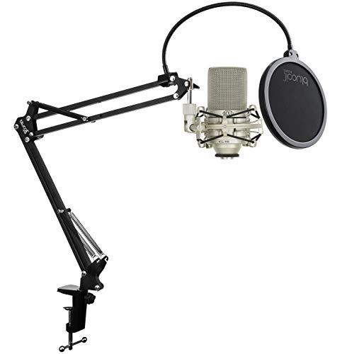 MXL 990 Condenser Microphone Bundle with MXL-90 Shockmount, MT-001 Hard Mount Mic Stand Adapter, and Blucoil Boom Arm Plus Pop Filter