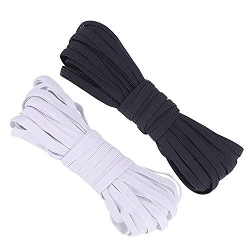 1/4 Inch Elastic Bands for Sewing 20 Yards, 6mm White Elastic and Black Elastic, Flat Elastic, Mens Shorts Elastic Waist, Hair Elastics, Stretch Bands
