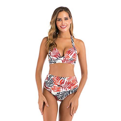Dasongff Dames-nekhouder push-up bikini set hoge taille bikinislip ruche bikinibroek driehoek tweedelige tankini bandeau badpak