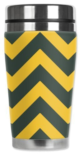 Mugzie Green Bay Football Colors Chevron Travel Mug with Insulated Wetsuit Cover, Multicolor by Mugzie