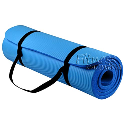 Fitness Mantra Yoga Mat with Strap for Gym Workout and Yoga Exercise with 6mm Thickness, Anti-Slip Yoga Mat for Men & Women Fitness [Qnty.-1 Pcs.][Free Strap][Blue Color]