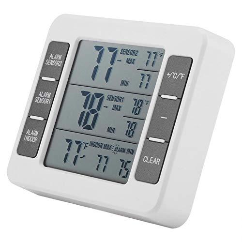 XINL Termómetro para refrigerador, indicador de Temperatura de Alarma Audible Colgante Digital para congelador