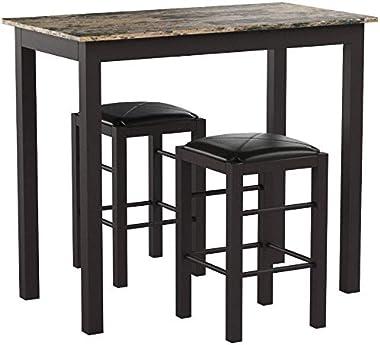 "Linon Brown 3-Piece Table Faux Marble Tavern Set, 42"" w x 22.25"" d x 36"" h"