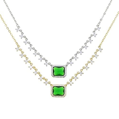 Colgante de piedra de gota de agua de cristal grande verde, collares de circonita verde para mujer,gargantilla de boda depera colorida de oro blanco