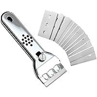 com-four® Rascador de acero inoxidable con mango antideslizante y protección de la cuchilla, para vitrocerámica, vitrocerámica y vitrocerámica, con cuchillas de repuesto. (01 pieza)